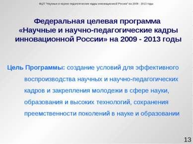 Федеральная целевая программа «Научные и научно-педагогические кадры инноваци...