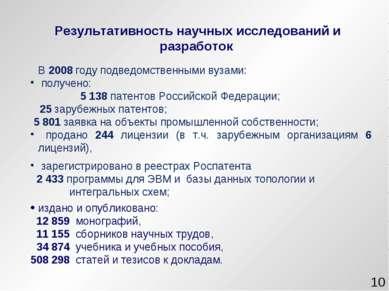 * В 2008 году подведомственными вузами: получено: 5 138 патентов Российской Ф...