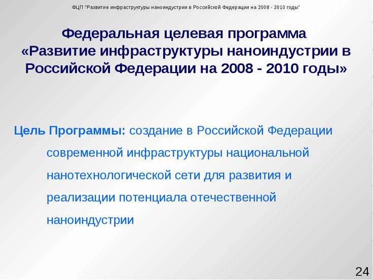 Федеральная целевая программа «Развитие инфраструктуры наноиндустрии в Россий...
