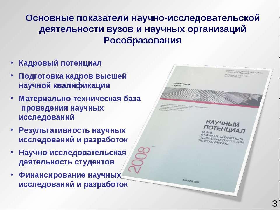 Кадровый потенциал Подготовка кадров высшей научной квалификации Материально-...