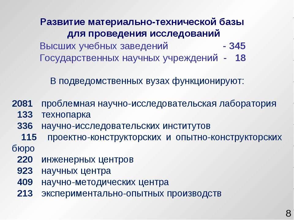 * Высших учебных заведений - 345 Государственных научных учреждений - 18 В по...