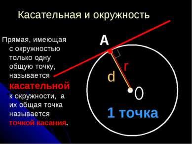 Касательная и окружность Прямая, имеющая с окружностью только одну общую точк...
