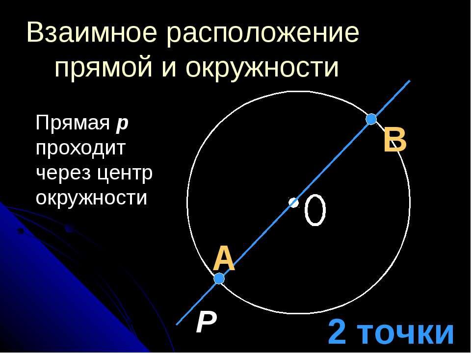 Взаимное расположение прямой и окружности Прямая p проходит через центр окруж...