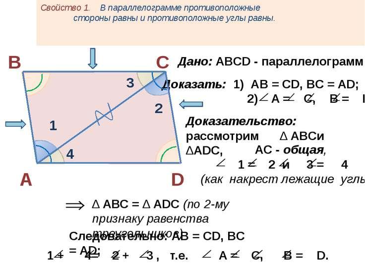 Свойство 1. В параллелограмме противоположные стороны равны и противоположные...