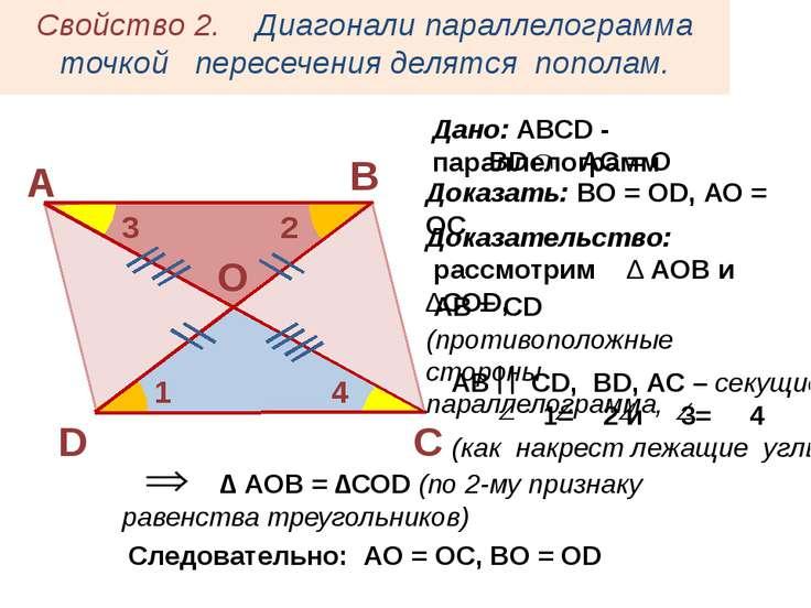 АВ СD, ВD, AC – секущие 1= 2 и 3= 4 (как накрест лежащие углы) Свойство 2. Ди...
