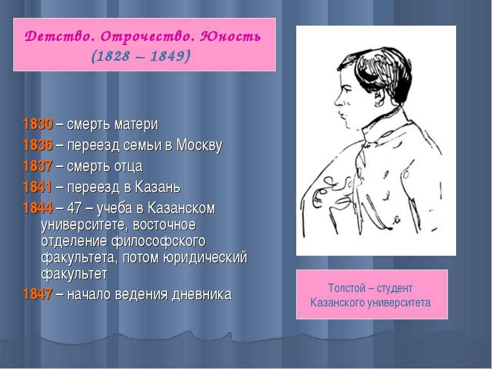 1830 – смерть матери 1836 – переезд семьи в Москву 1837 – смерть отца 1841 – ...