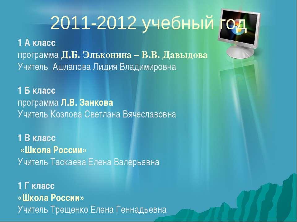 2011-2012 учебный год 1 А класс программа Д.Б. Эльконина – В.В. Давыдова Учит...