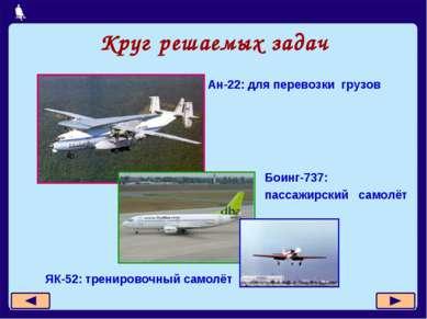 Круг решаемых задач Ан-22: для перевозки грузов Боинг-737: пассажирский самол...