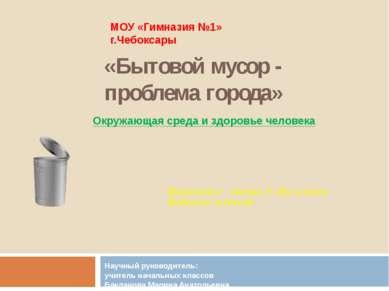 «Бытовой мусор - проблема города» Научный руководитель: учитель начальных кла...