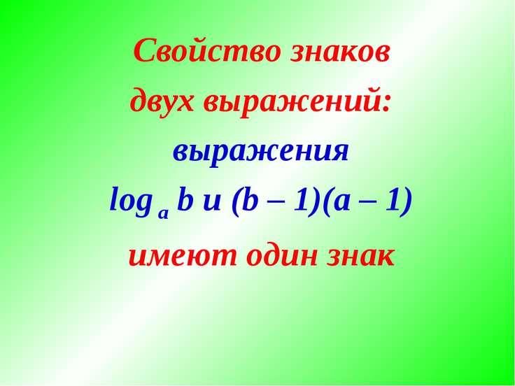 Свойство знаков двух выражений: выражения log a b и (b – 1)(a – 1) имеют один...