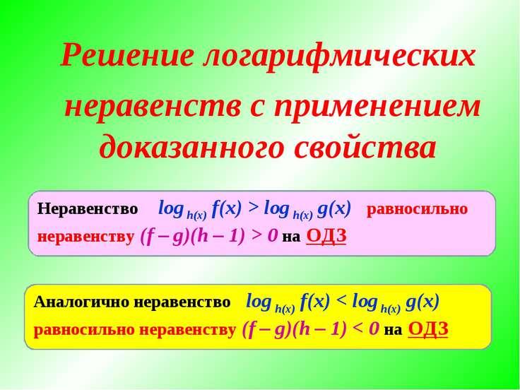 Решение логарифмических неравенств с применением доказанного свойства