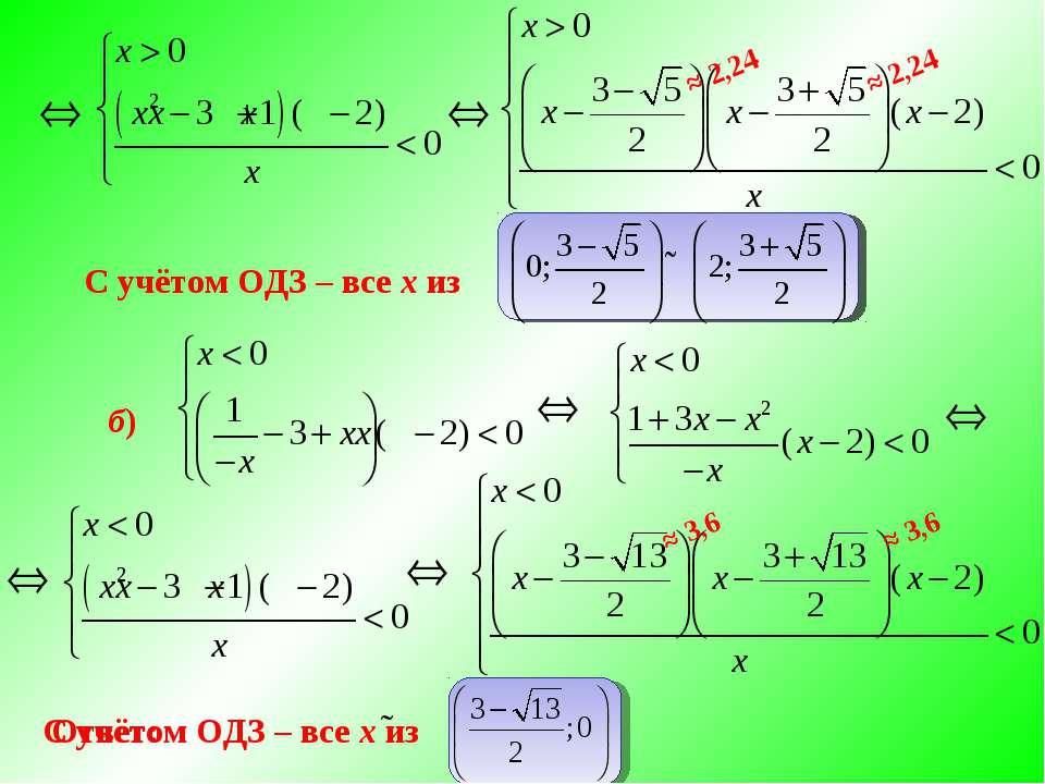б) С учётом ОДЗ – все х из С учётом ОДЗ – все х из Ответ: ≈ 2,24 ≈ 2,24 ≈ 3,6...