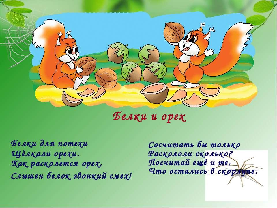 Белки и орех Белки для потехи Щёлкали орехи. Как расколется орех, Слышен бело...