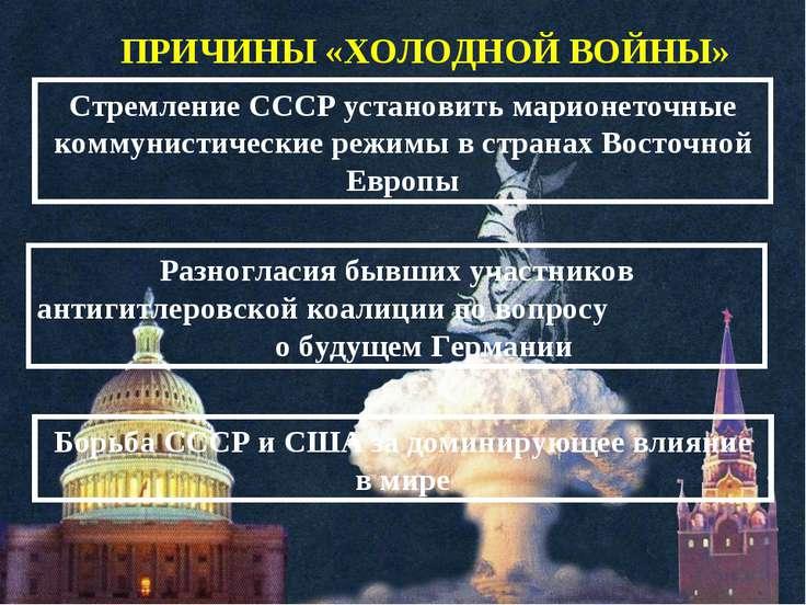 ПРИЧИНЫ «ХОЛОДНОЙ ВОЙНЫ» Стремление СССР установить марионеточные коммунистич...