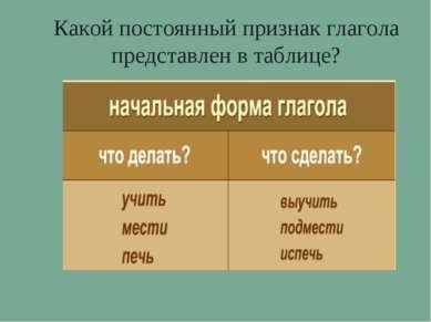Какой постоянный признак глагола представлен в таблице?