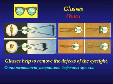 Glasses Очки Glasses help to remove the defects of the eyesight. Очки позволя...