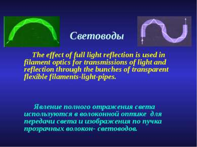 Световоды The effect of full light reflection is used in filament optics for ...