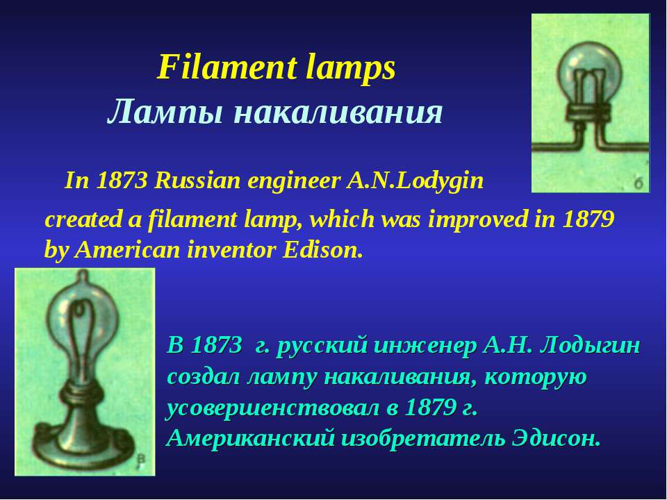 Filament lamps Лампы накаливания In 1873 Russian engineer A.N.Lodygin created...