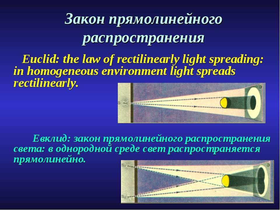 Закон прямолинейного распространения Euclid: the law of rectilinearly light s...