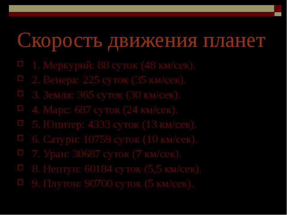 Скорость движения планет 1. Меркурий: 88 суток (48 км/сек). 2. Венера: 225 су...