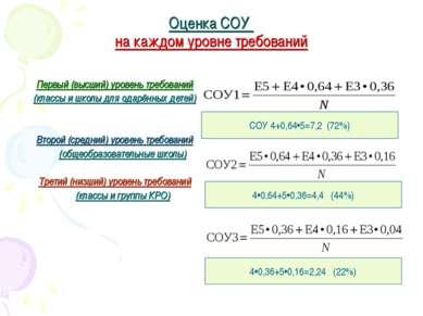 Оценка СОУ на каждом уровне требований Первый (высший) уровень требований (кл...
