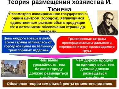 Теория размещения хозяйства И. Тюнена Рассмотрел изолированное государство с ...