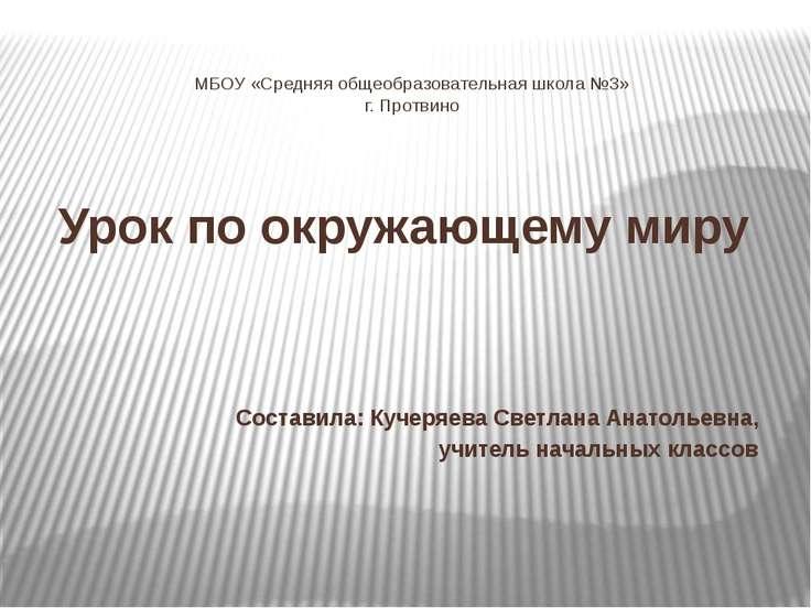 МБОУ «Средняя общеобразовательная школа №3» г. Протвино Урок по окружающему м...