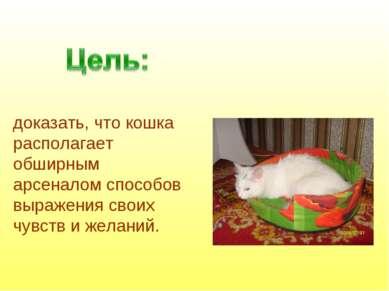 доказать, что кошка располагает обширным арсеналом способов выражения своих ч...