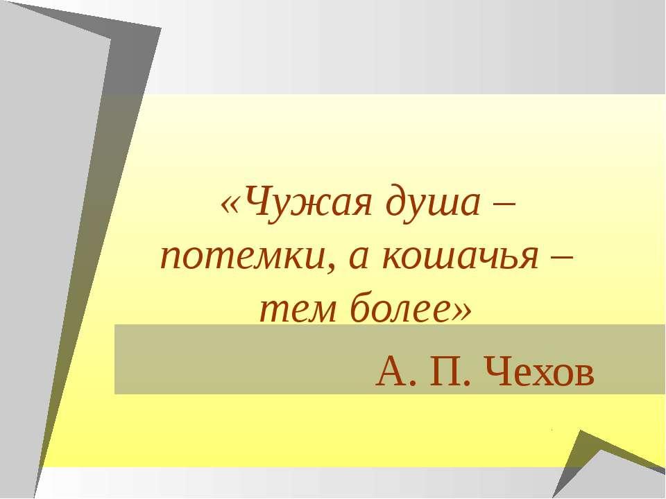 «Чужая душа – потемки, а кошачья – тем более» А. П. Чехов