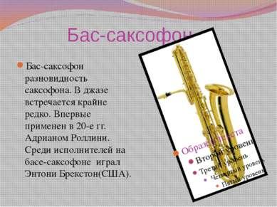 Бас-саксофон Бас-саксофон разновидность саксофона. В джазе встречается крайне...