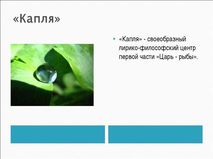 «Капля» - своеобразный лирико-философский центр первой части «Царь - рыбы».