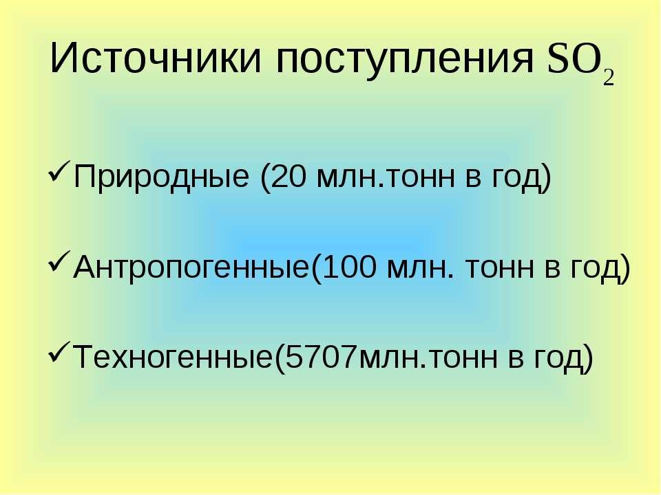 Природные (20 млн.тонн в год) Антропогенные(100 млн. тонн в год) Техногенные(...