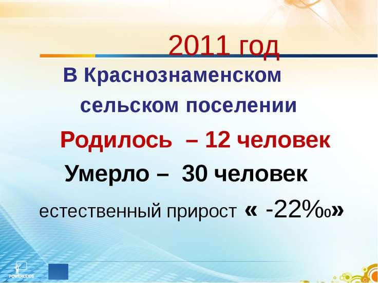 2011 год В Краснознаменском сельском поселении Родилось – 12 человек Умерло –...