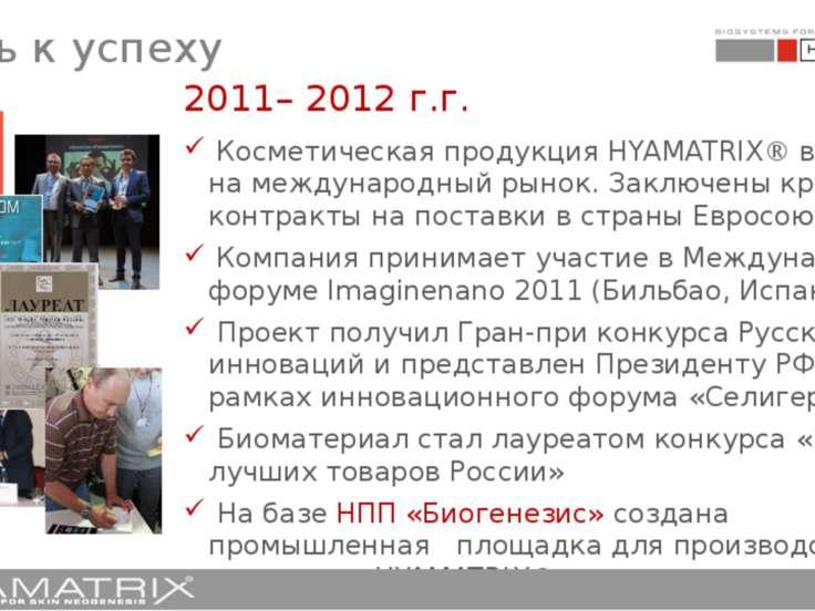 2011– 2012 г.г. Косметическая продукция HYAMATRIX® выходит на международный р...