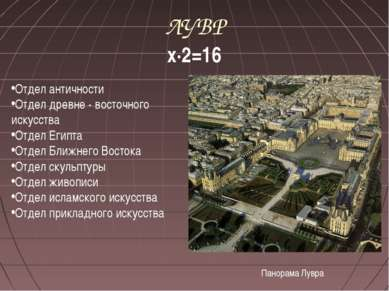 ЛУВР х∙2=16 Отдел античности Отдел древне - восточного искусства Отдел Египта...