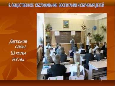 Детские сады Школы ВУЗы