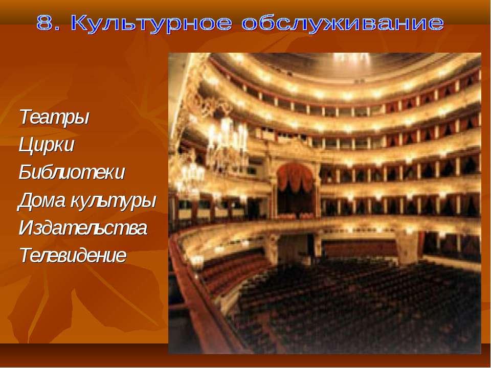 Театры Цирки Библиотеки Дома культуры Издательства Телевидение