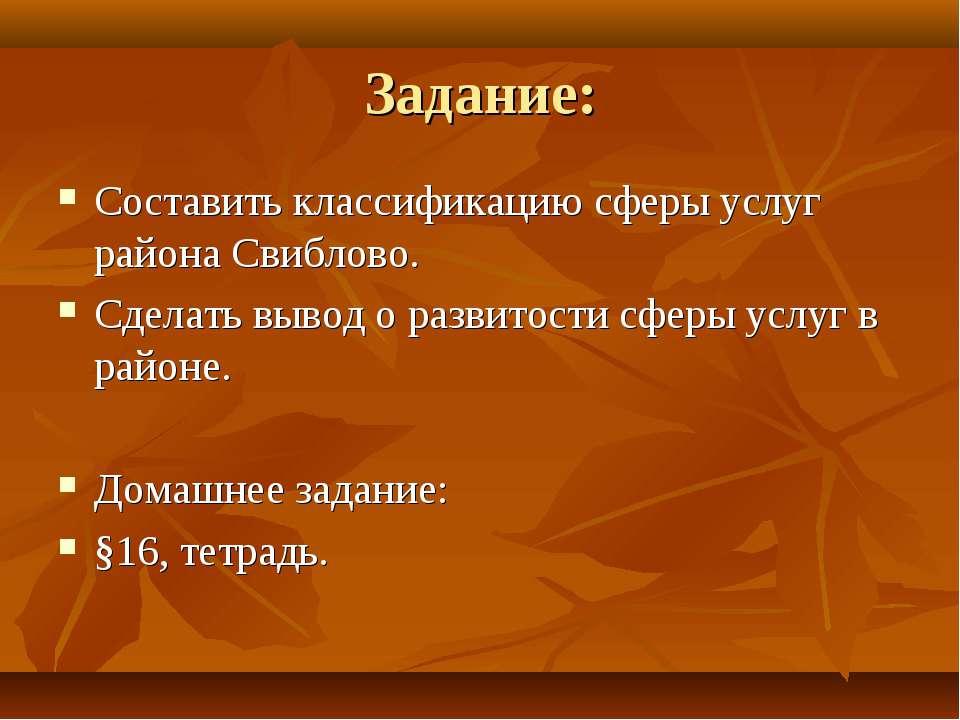 Задание: Составить классификацию сферы услуг района Свиблово. Сделать вывод о...
