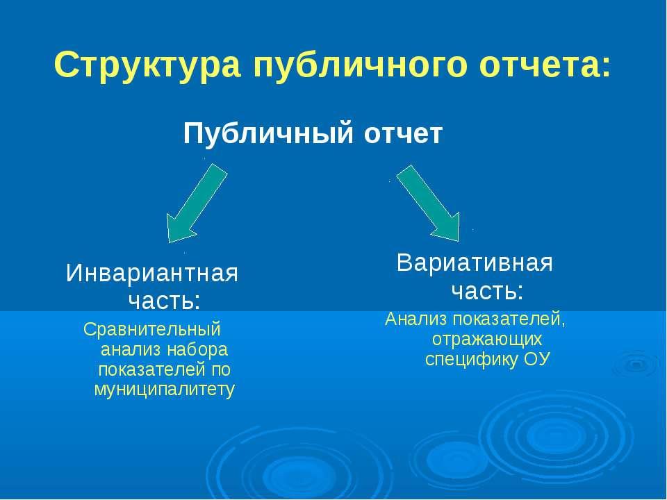 Структура публичного отчета: Публичный отчет Инвариантная часть: Сравнительны...