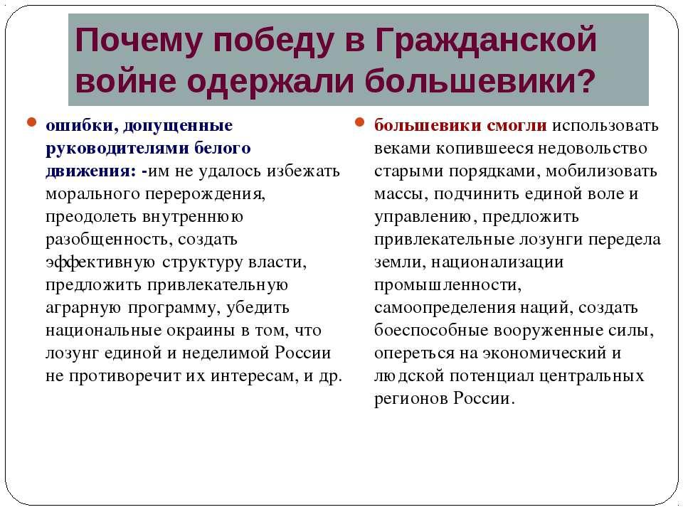 Почему победу в Гражданской войне одержали большевики? ошибки, допущенные рук...