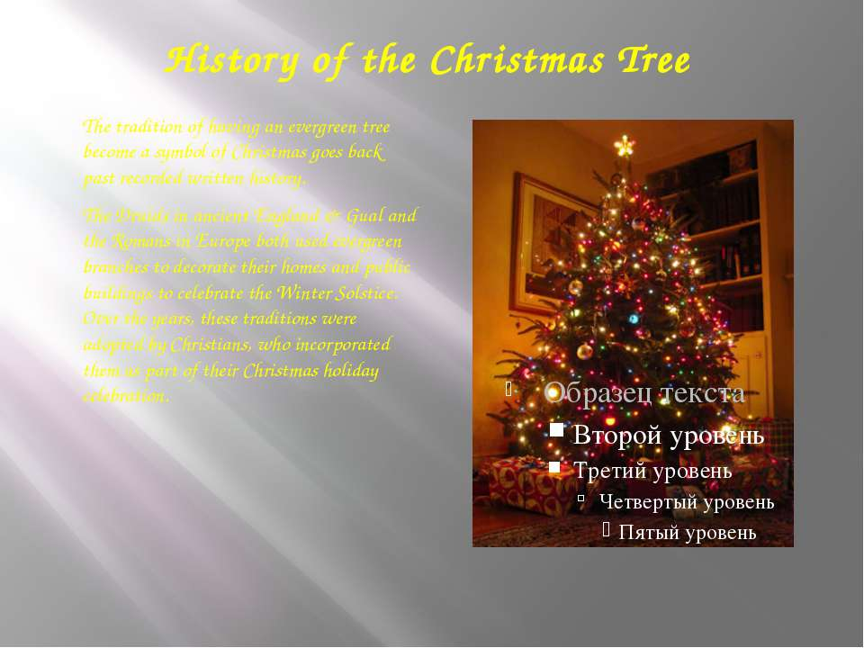 History of the Christmas Tree The tradition of having an evergreen tree becom...