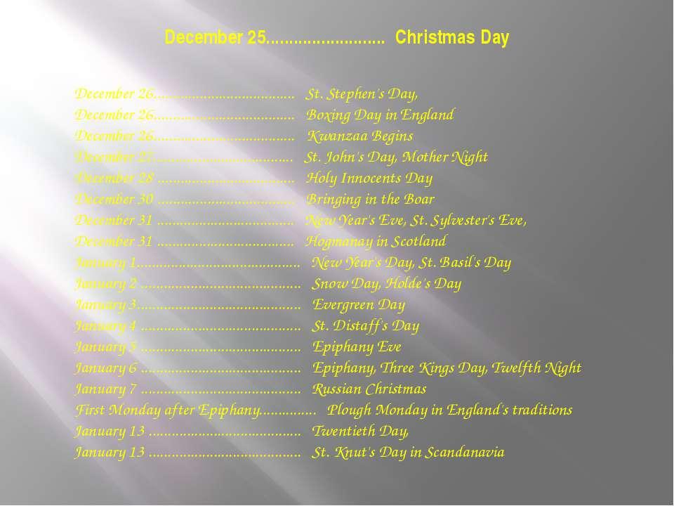 December 25.......................... Christmas Day December 26................