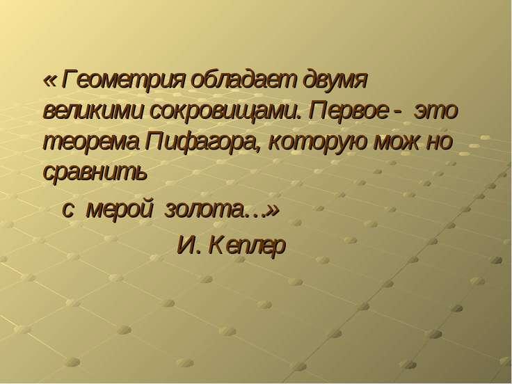 « Геометрия обладает двумя великими сокровищами. Первое - это теорема Пифагор...