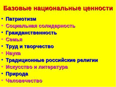 Базовые национальные ценности Патриотизм Социальная солидарность Гражданствен...