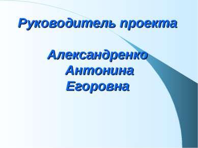 Руководитель проекта Александренко Антонина Егоровна