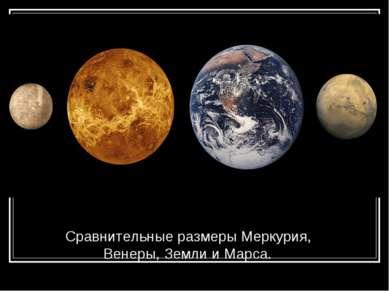 Сравнительные размеры Меркурия, Венеры, Земли и Марса.