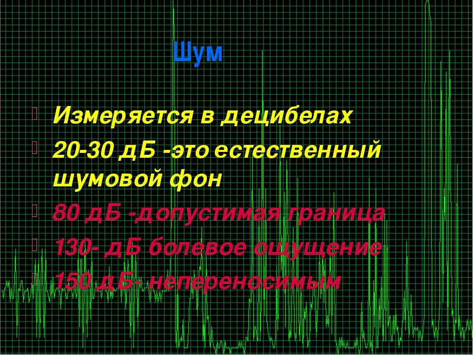 Шум Измеряется в децибелах 20-30 дБ -это естественный шумовой фон 80 дБ -допу...