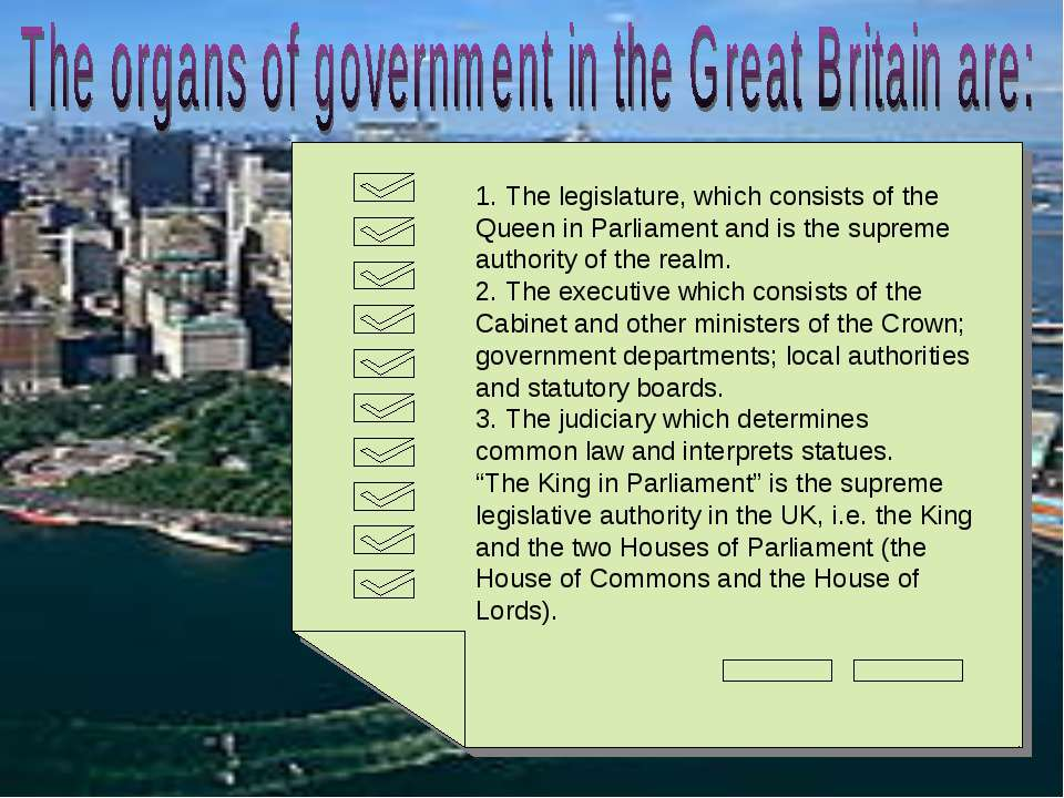 1. The legislature, which consists of the Queen in Parliament and is the supr...