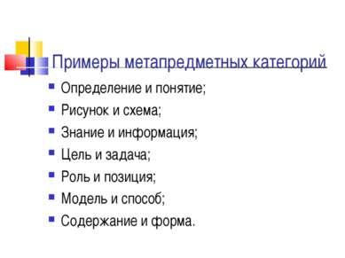 Примеры метапредметных категорий Определение и понятие; Рисунок и схема; Знан...