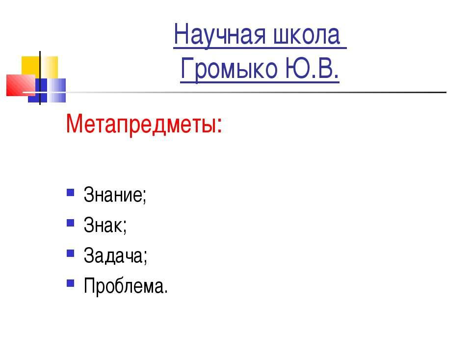 Научная школа Громыко Ю.В. Метапредметы: Знание; Знак; Задача; Проблема.